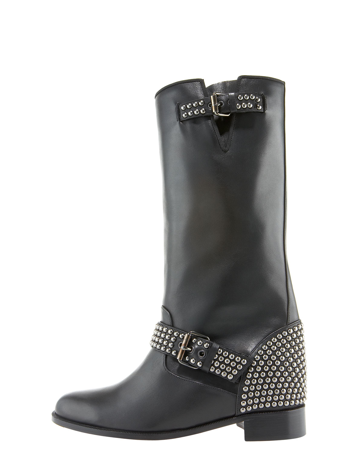 71779db377e0 Lyst - Christian Louboutin Studded Motorcycle Boot in Black