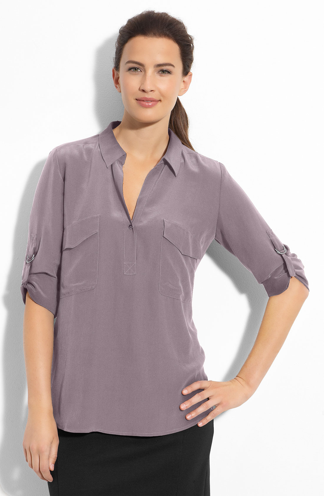 eileen fisher tab sleeve silk shirt petite in purple