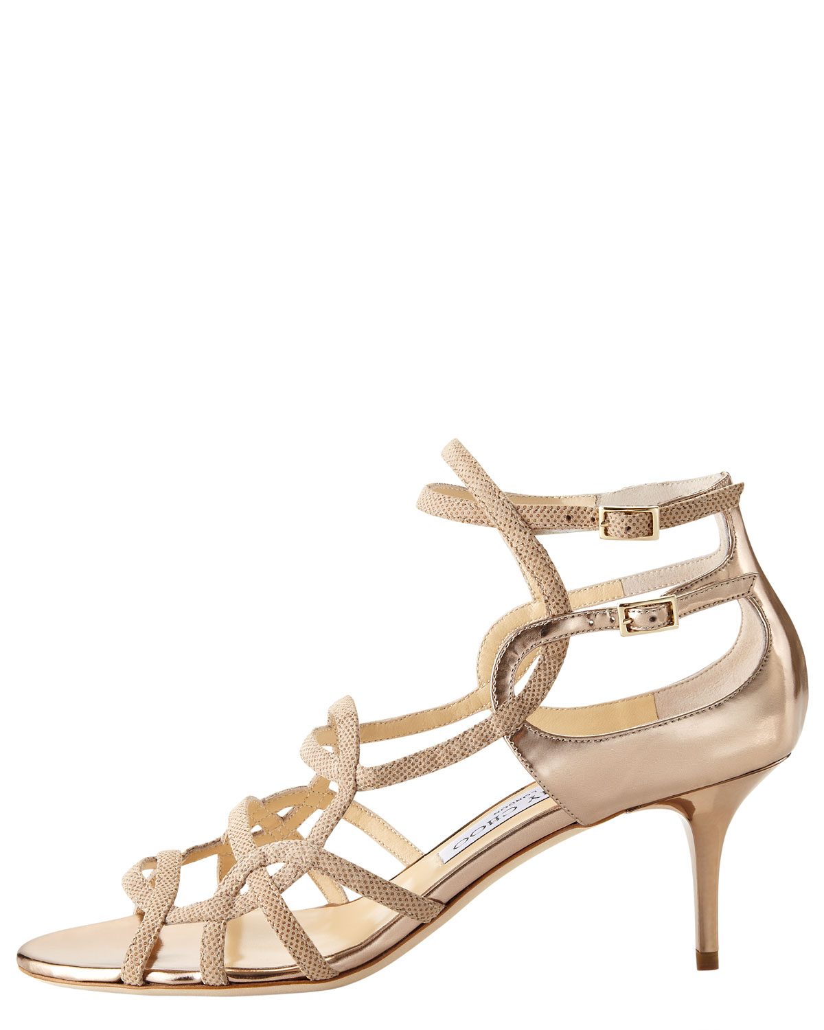 Jimmy choo Strappy Low-heel Sandal in Natural | Lyst