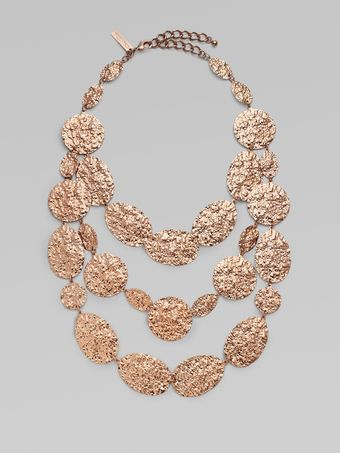 Oscar de la Renta Multi-row Textured Necklace - Lyst