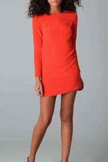 Long Sleeve Shift Dress on Tibi Red Long Sleeve Shift Dress Product 3 2260747 745756225 Large