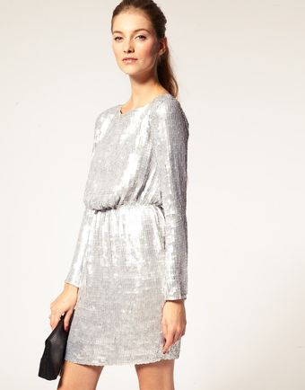 ASOS Collection Asos Sequin Dress with Long Sleeves - Lyst