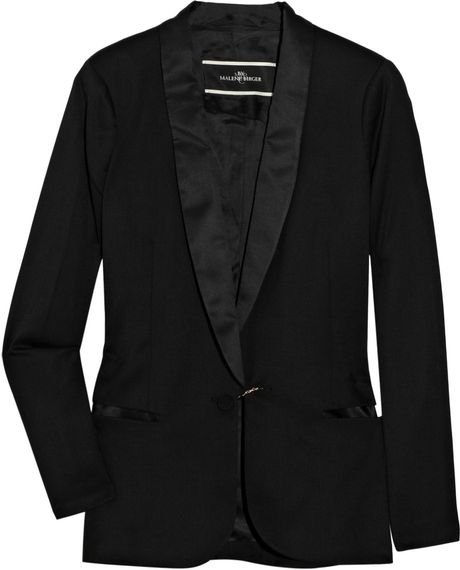 By Malene Birger Azemina Crepe and Satin Tuxedo Jacket in Black