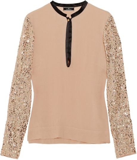 By Malene Birger Dorothe Sequined Crepe Blouse in Pink (blush) - Lyst