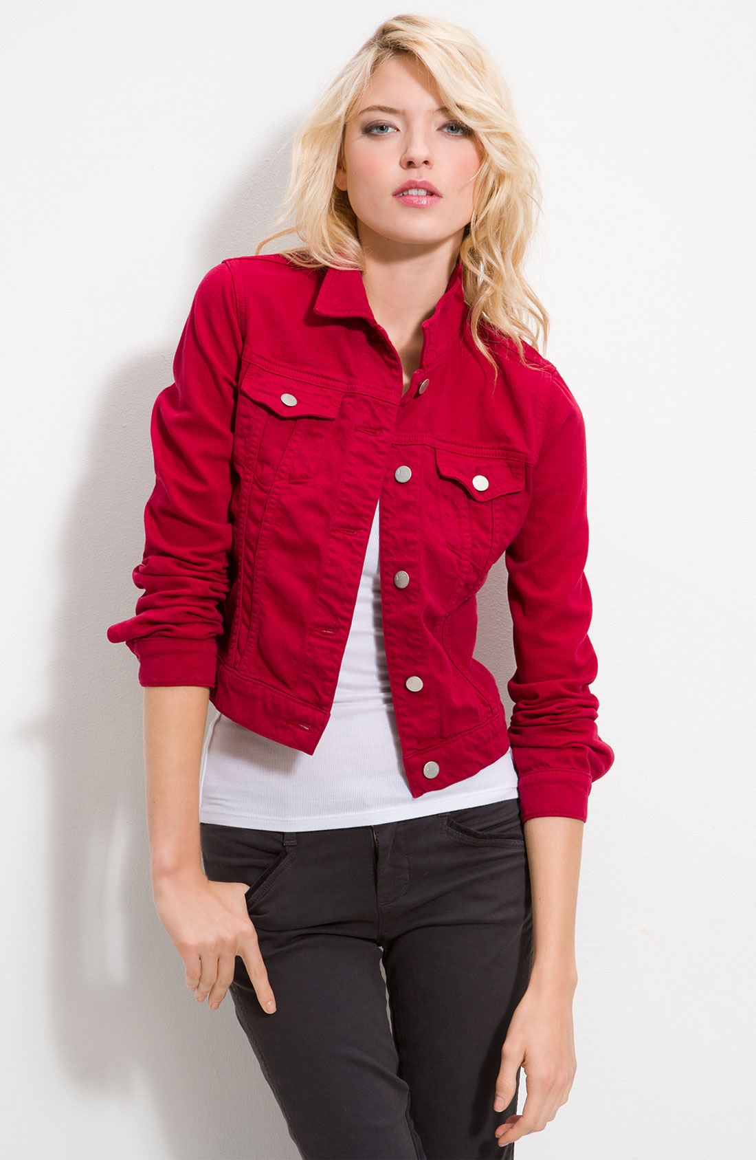 J Brand Slim Fit Overdyed Denim Jacket In Red Lyst
