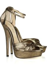 Jimmy Choo Greta Lamécovered Suede Sandals in Gold - Lyst