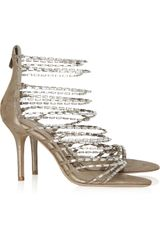 Jimmy Choo Lauren Diamanté and Suede Sandals - Lyst