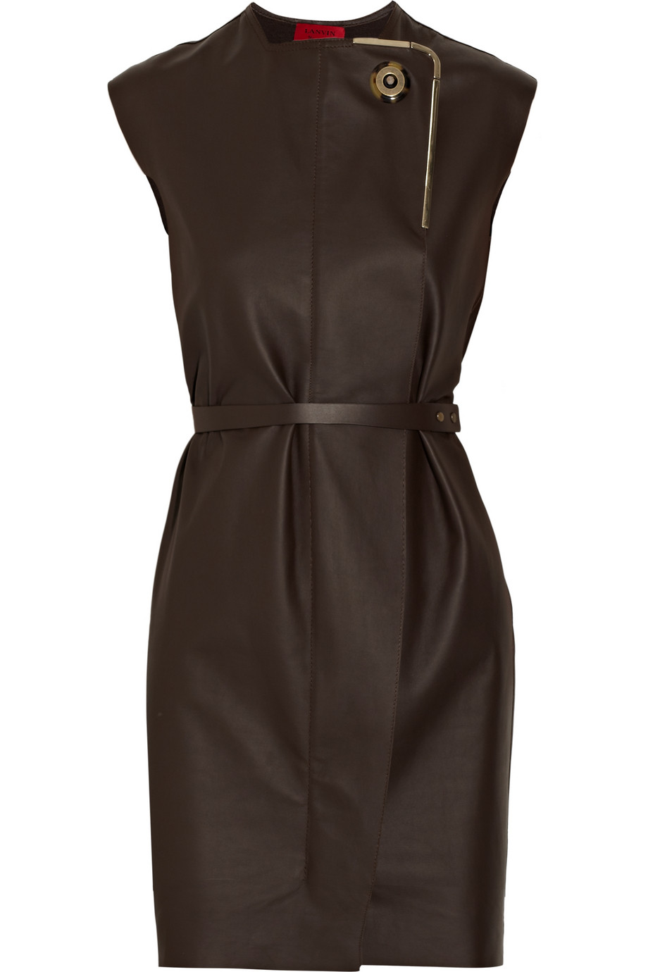 Lyst Lanvin Belted Leather Dress In Brown