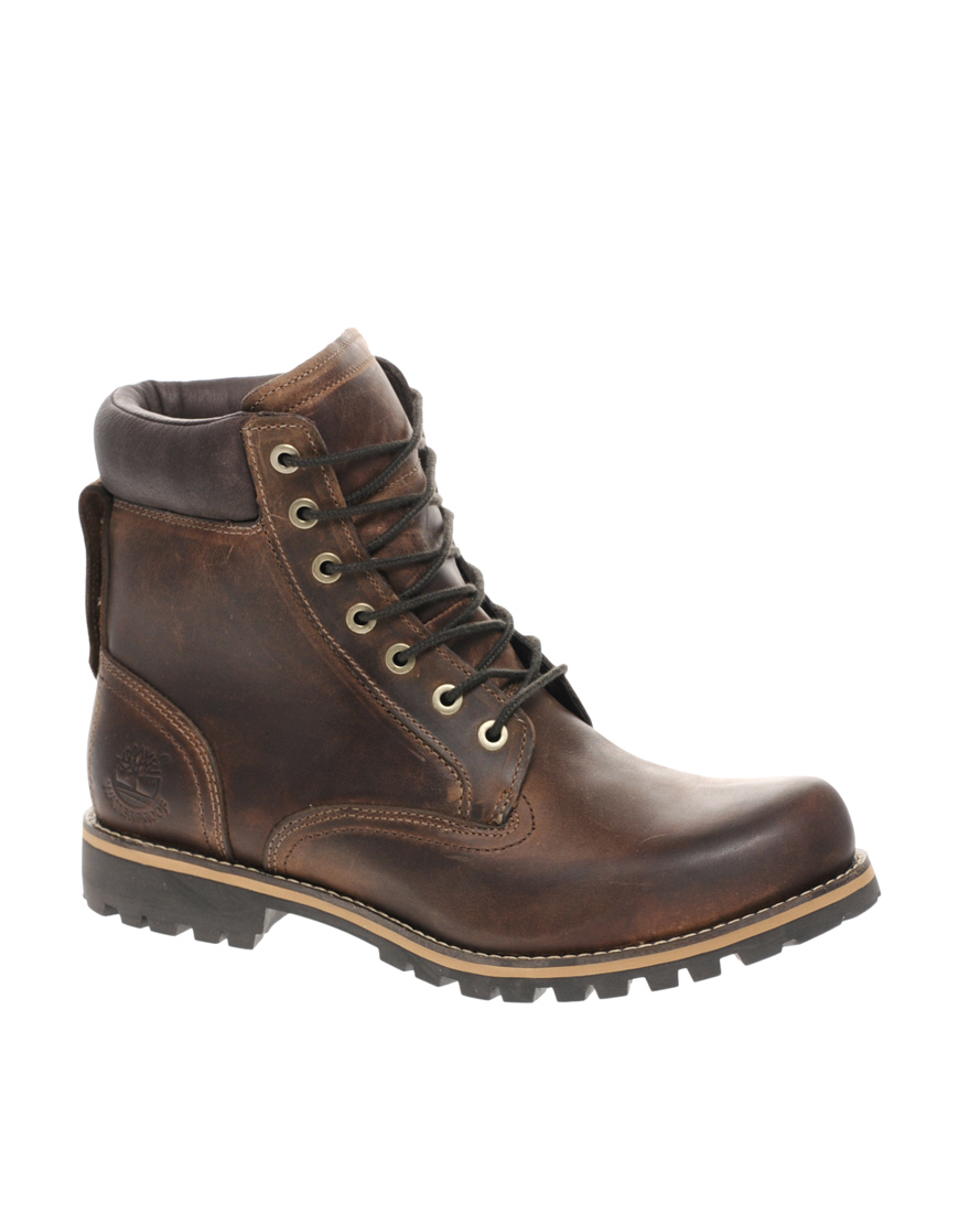 timberland earthkeeper rugged plain toe boots in brown for