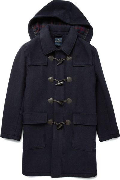 Brooks Brothers Madison Wool Duffle Coat In Blue For Men