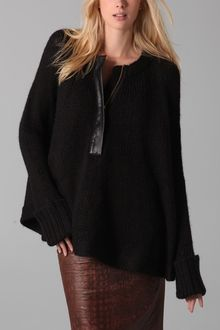 By Malene Birger Syhala Poncho with Leather Trim - Lyst