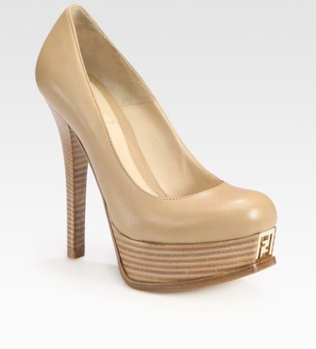 Fendi Sta Leather Platform Pumps in Beige - Lyst