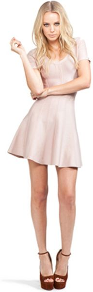 Hervé Léger Flare Skirt Dress in Bare in Pink - Lyst