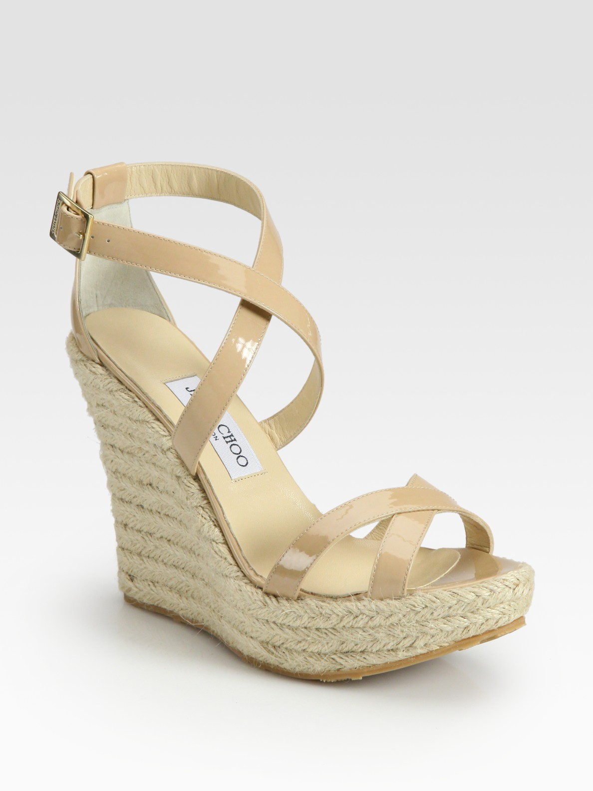 ac801585a23e ... discount code for lyst jimmy choo porto patent leather espadrille wedge  sandals in 8c238 87e31