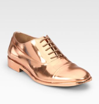 Maison Martin Margiela Lace-up Metallic Leather Oxfords - Lyst
