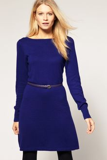 Oasis Knitted Dress With Belt - Lyst