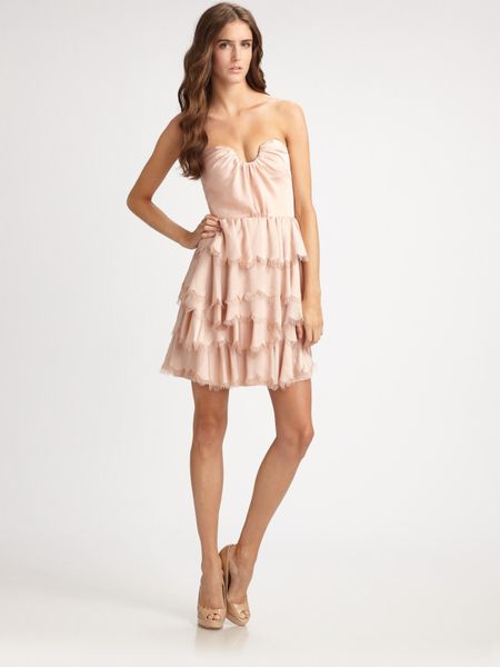 Rebecca Taylor Eyelash Bustier Dress in Beige (nude) - Lyst