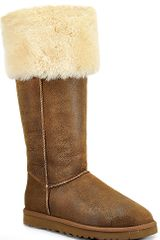 Ugg Bailey Button - Chestnut Suede Over The Knee Shearling Boot