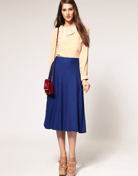 asos collection asos midi skirt with swing hem in