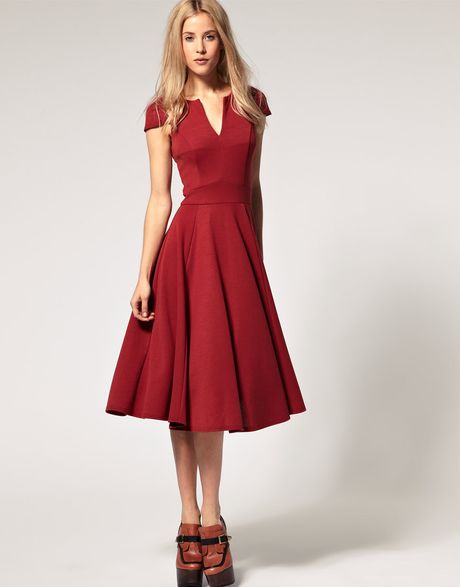 Asos Collection Asos Fit And Flare Midi Dress With V Neck