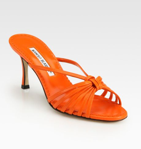 Manolo Blahnik Strappy Leather Sandals in Orange - Lyst