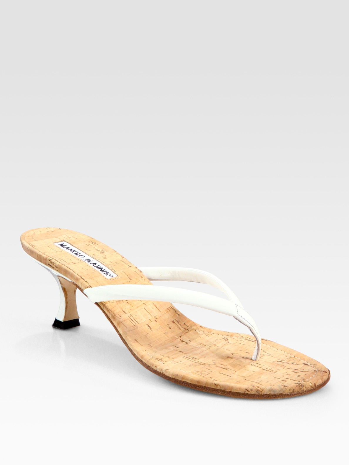 Manolo blahnik Patent Leather and Cork Thong Sandals in White | Lyst