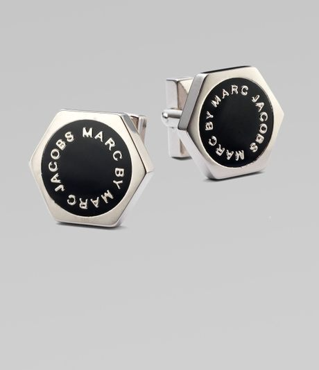 Marc By Marc Jacobs Enamel Disc Cuff Links in Black for Men - Lyst
