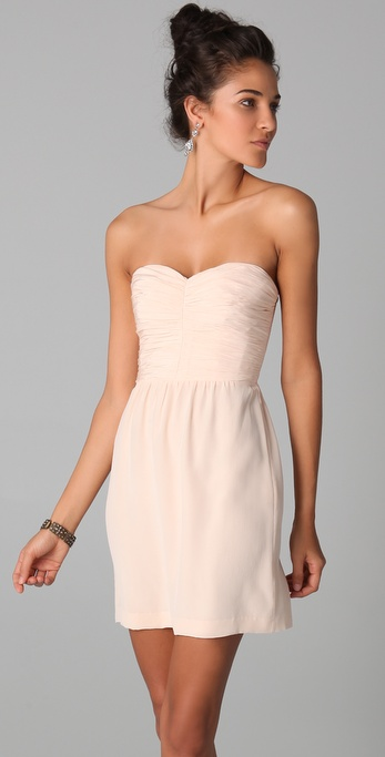 Rebecca taylor Ruched Strapless Dress in Pink | Lyst