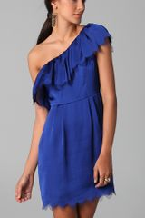 Rebecca Taylor Eyelash One Shoulder Dress in Blue (cobalt) - Lyst