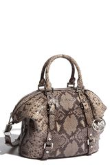 Michael by Michael Kors Bedford - Medium Python Embossed Satchel - Lyst