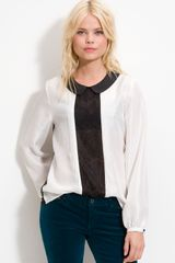 Trouvé Lace Panel Silk Blouse - Lyst