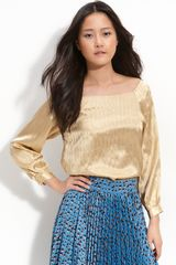 Tucker Off Shoulder Metallic Striped Blouse - Lyst