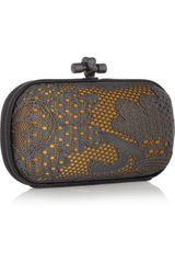 Bottega Veneta Laceeffect Metal and Snakeskin Knot Clutch in Gold - Lyst
