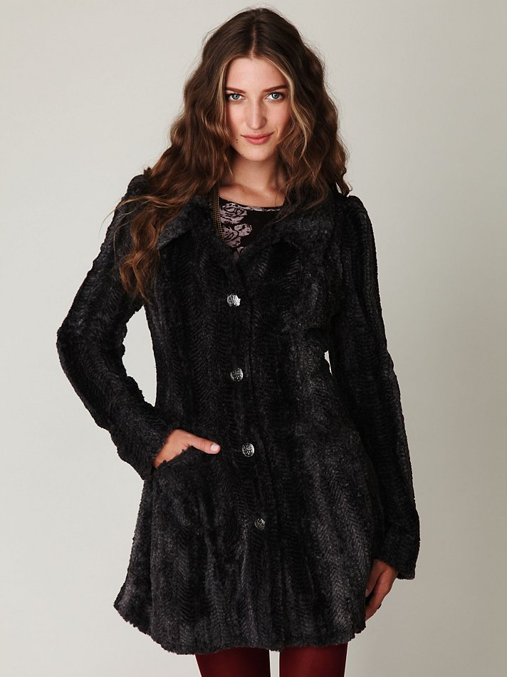 Free people Long and Lean Faux Fur Coat in Black | Lyst