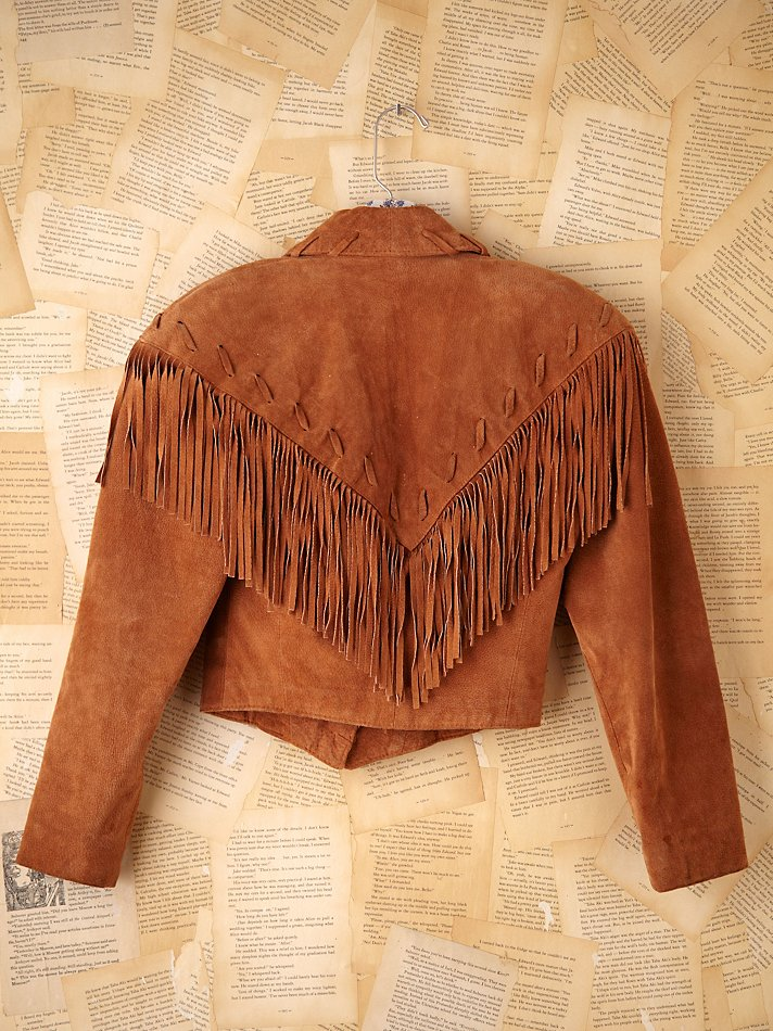 2fff339725a6 Lyst - Free People Vintage Leather Fringe Jacket in Brown