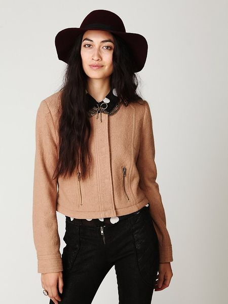 Free People Convertible Wool Coat In Beige Camel Lyst