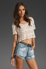 Free People Lacy Boxy Crop Top - Lyst