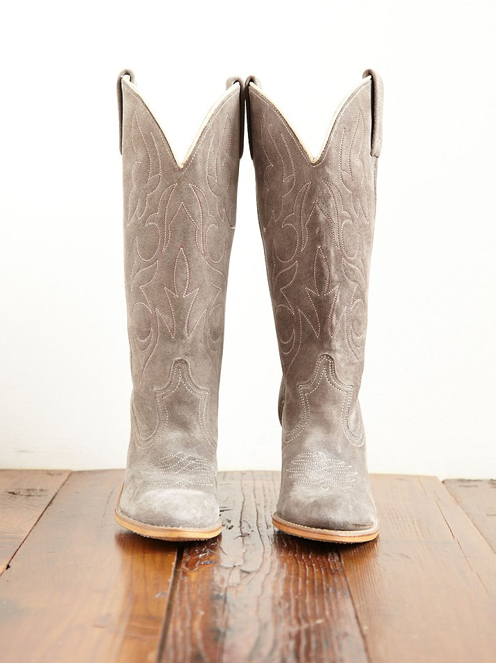 free vintage suede cowboy boots in gray lyst