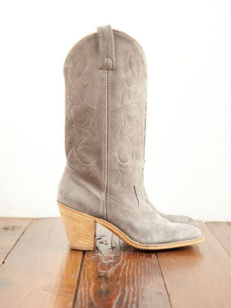 Free People Vintage Suede Cowboy Boots In Gray Grey Lyst