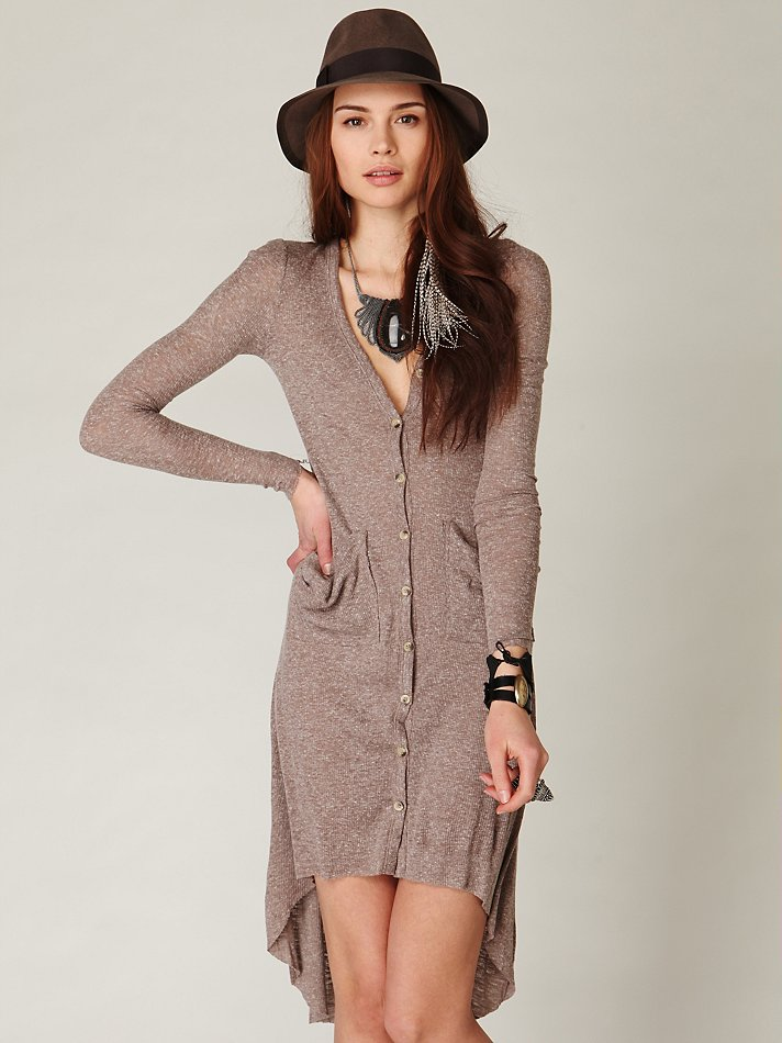 Free people Ribbed Up Maxi Cardigan in Brown | Lyst