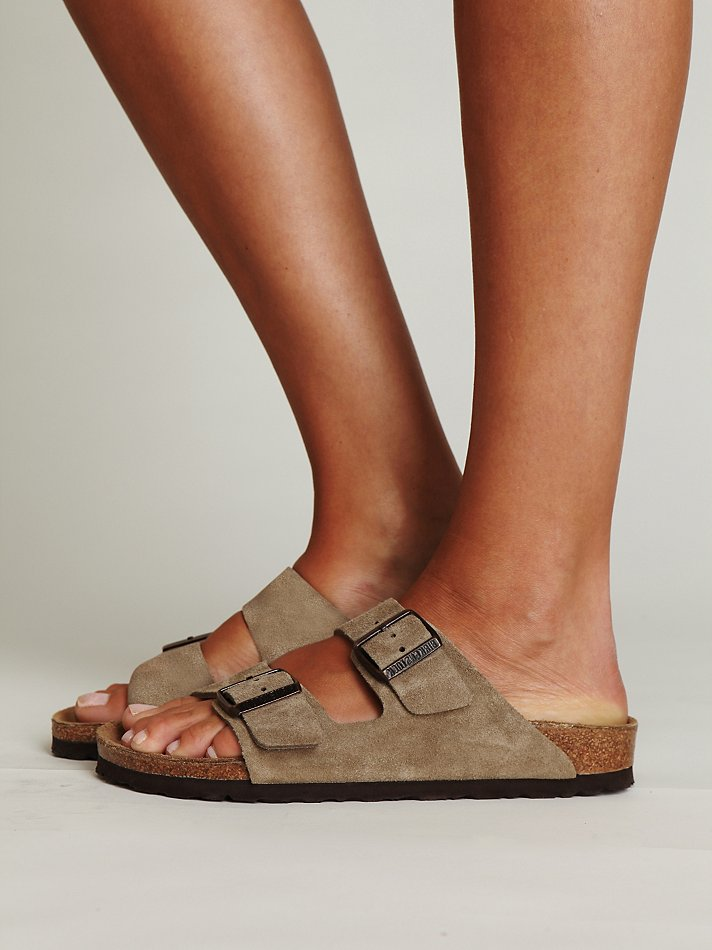 Free People Arizona Suede Birkenstock In Natural Lyst