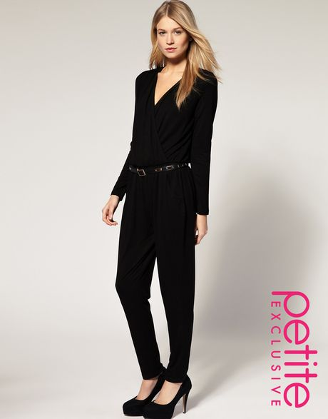Asos Collection Exclusive Jumpsuit with Wrap Front  in Black - Lyst