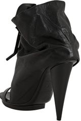Balenciaga Black Pebbled Leather Open Toe Ankle Boots in Black - Lyst