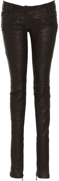 Balmain Leather Moto Pant - Lyst