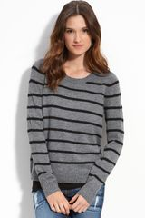 Caslon® Stripe Button Shoulder Sweater - Lyst