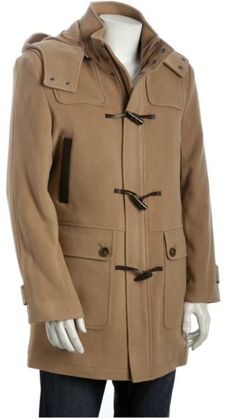 Cole Haan Camel Wool Blend Removable Hooded Toggle Front