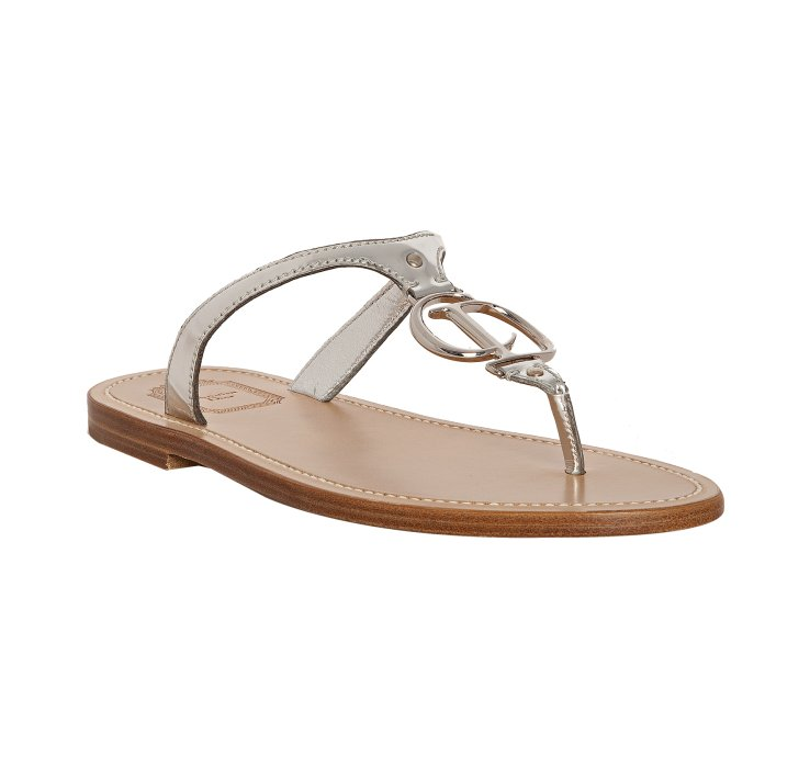 Dior Silver Leather Cd Thong Flat Sandals In Silver Lyst