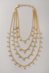 Elizabeth Cole Multistrand Swarovski Necklace in Gold (black) - Lyst