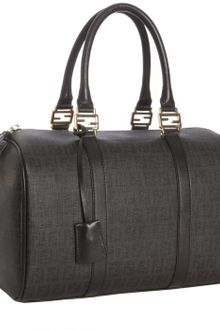 Fendi Black Zucchino Spalmati Leather Trimmed Forever Bag - Lyst
