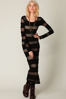 Free People Pieced Lace Long Sleeve Maxi - Lyst